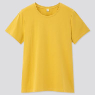 Women Supima© Cotton Crew Neck Short-Sleeve T-Shirt, Yellow, Medium