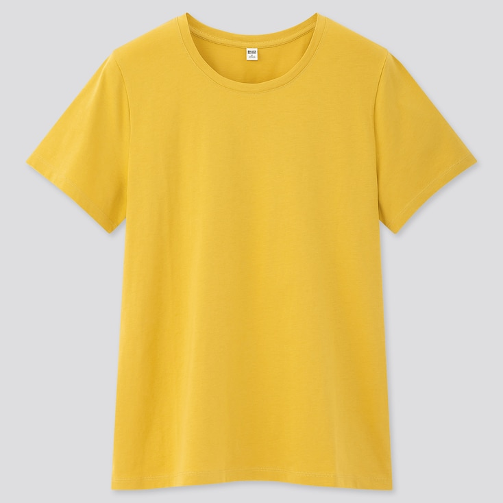 Women Supima Cotton Crew Neck Short-Sleeve T-Shirt, Yellow, Large