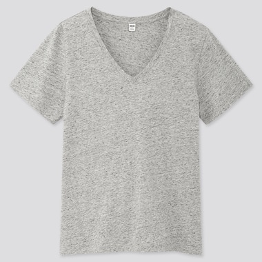 Women Supima® Cotton V-Neck Short-Sleeve T-Shirt, Gray, Medium