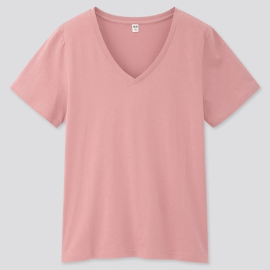 Women Supima® Cotton V-Neck Short-Sleeve T-Shirt, Pink, Medium