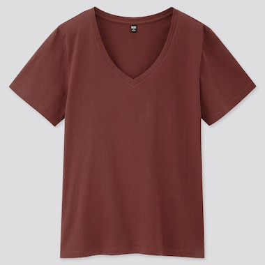 Women Supima© Cotton V-Neck Short-Sleeve T-Shirt, Wine, Medium