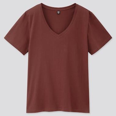 Women Supima Cotton V-Neck Short-Sleeve T-Shirt, Wine, Medium