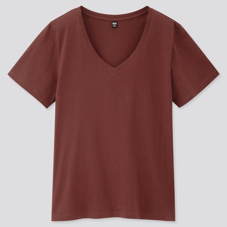 Women Supima® Cotton V-Neck Short-Sleeve T-Shirt, Wine, Large