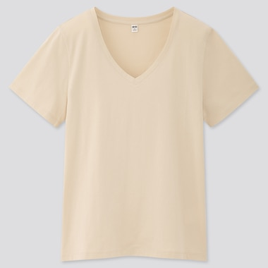 Women Supima® Cotton V-Neck Short-Sleeve T-Shirt, Natural, Medium