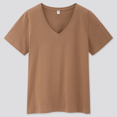 Women Supima® Cotton V-Neck Short-Sleeve T-Shirt, Brown, Medium