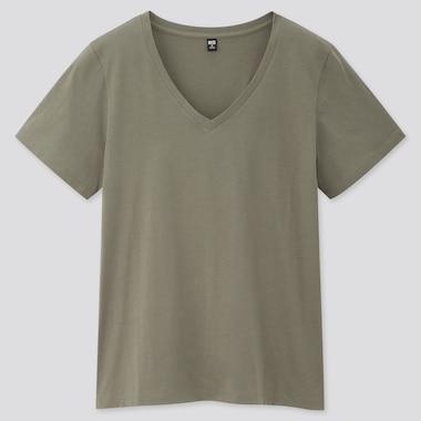 Women 100% Supima Cotton V Neck Short Sleeved T-Shirt