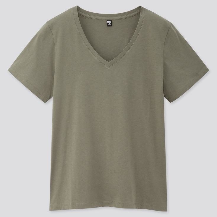 Women Supima Cotton V-Neck Short-Sleeve T-Shirt, Olive, Large