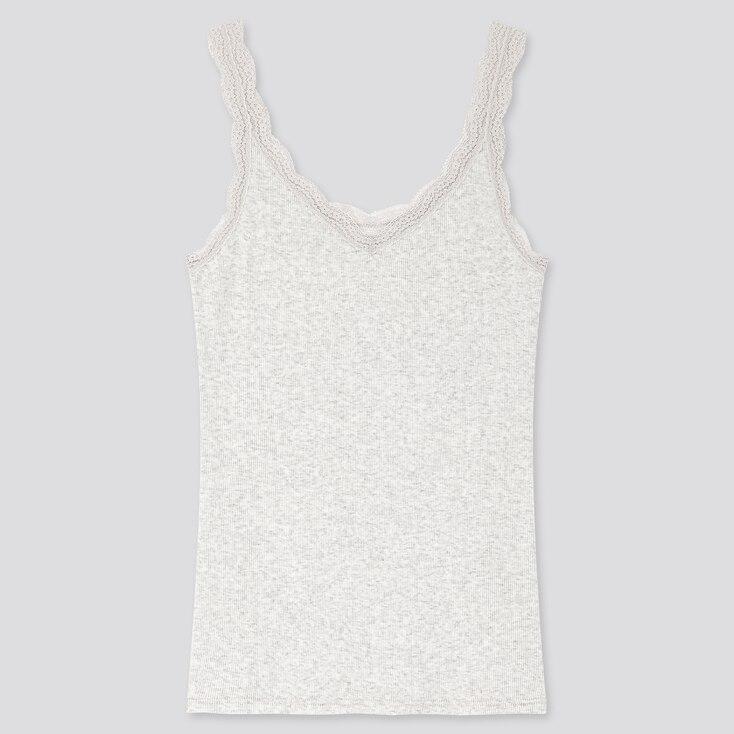 Women 2-Way Ribbed Lace Tank Top, Light Gray, Large