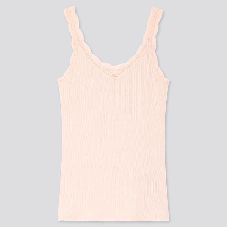 Women 2-Way Ribbed Lace Tank Top, Pink, Large