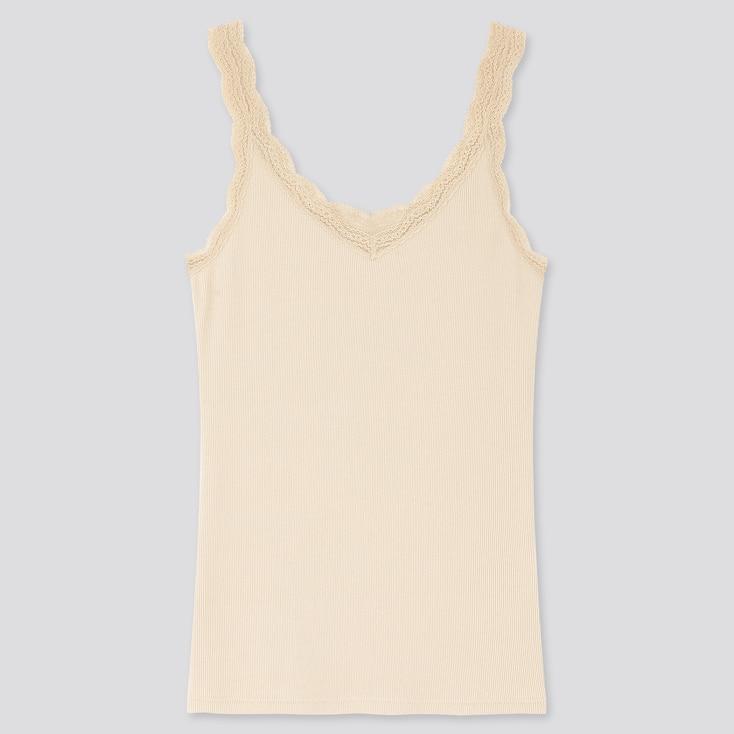 Women 2-Way Ribbed Lace Tank Top, Natural, Large