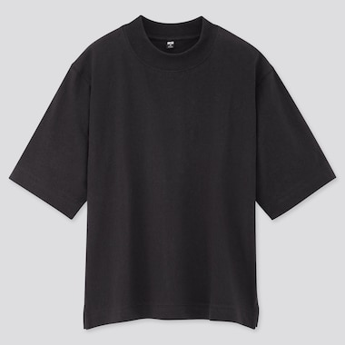 Women Cotton Relaxed Boxy Crew Neck Short-Sleeve T-Shirt, Black, Medium