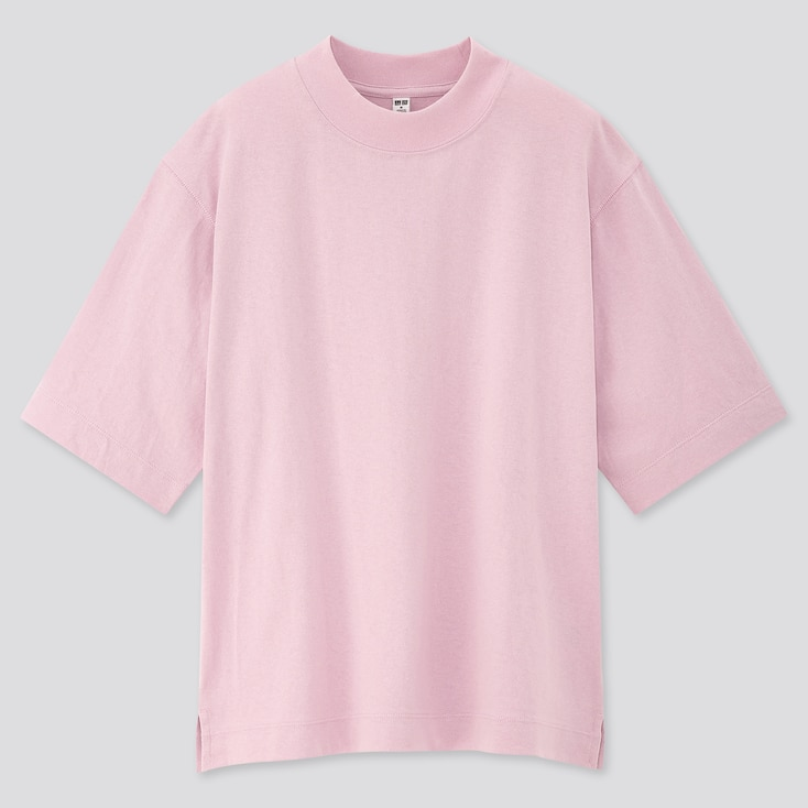 Women Cotton Relaxed Boxy Crew Neck Short-Sleeve T-Shirt, Pink, Large