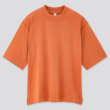 Women Cotton Relaxed Boxy Crew Neck Short-Sleeve T-Shirt, Orange, Medium