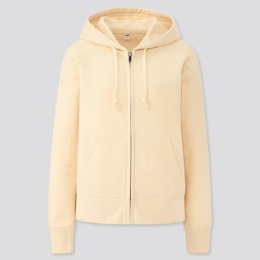 WOMEN SWEAT LONG-SLEEVE FULL-ZIP HOODIE, OFF WHITE, medium