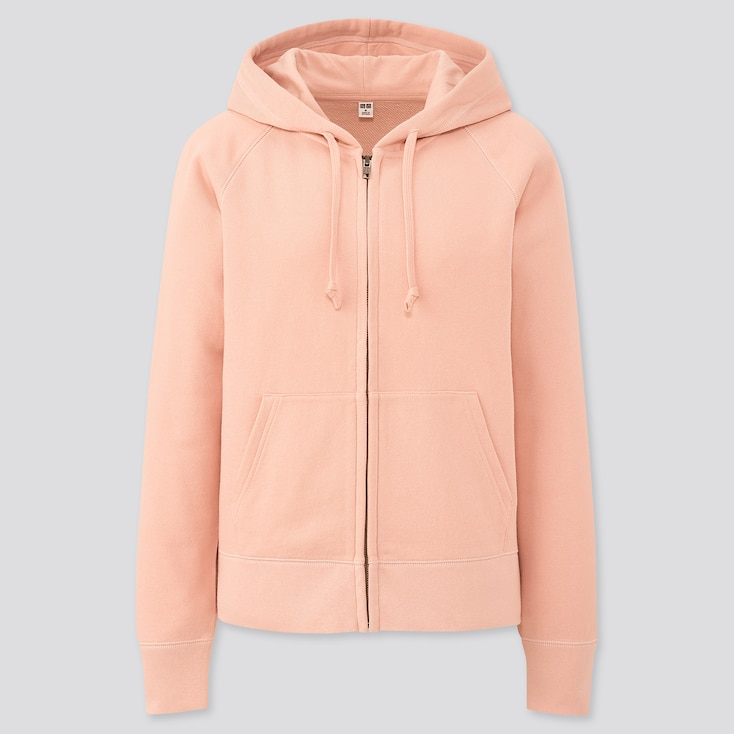 Women Sweat Long-Sleeve Full-Zip Hoodie, Pink, Large