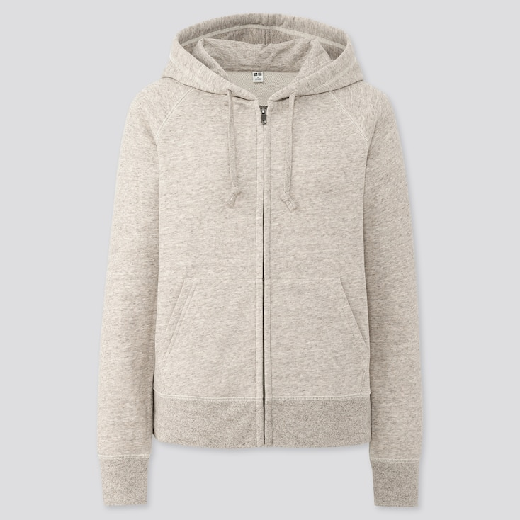 Women Sweat Long-Sleeve Full-Zip Hoodie, Beige, Large