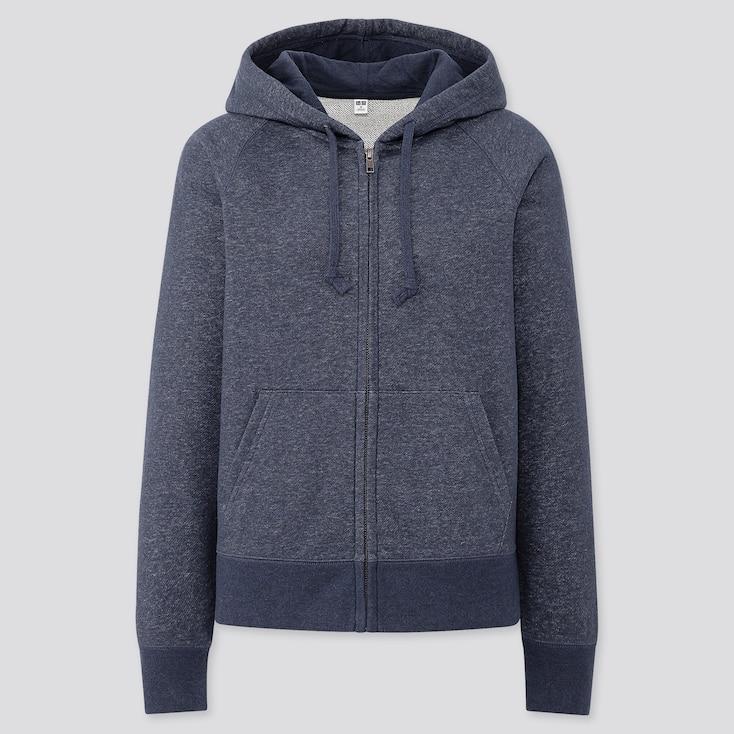 Women Sweat Long-Sleeve Full-Zip Hoodie, Blue, Large