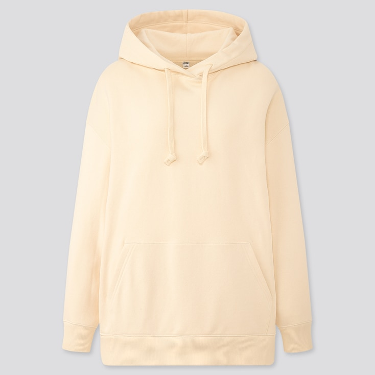 Women Oversized Long-Sleeve Pullover Hoodie Sweatshirt, Off White, Large