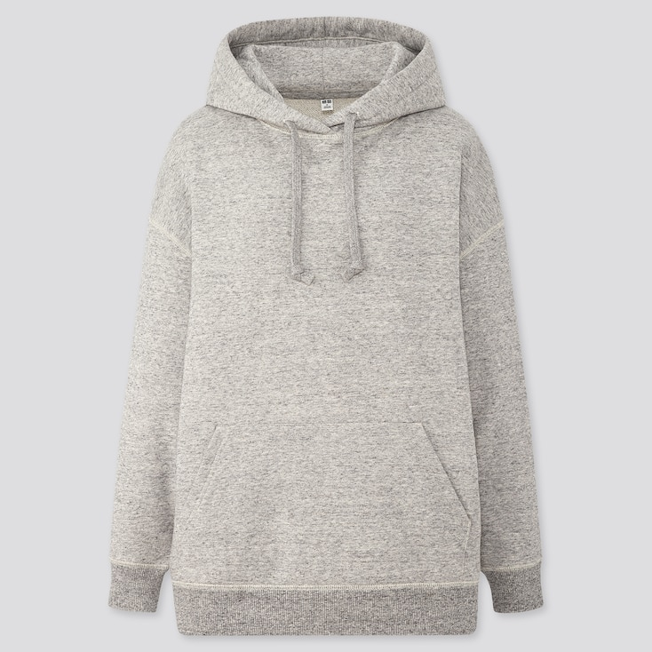 Women Sweat Oversize Long-Sleeve Pullover Hoodie, Gray, Large