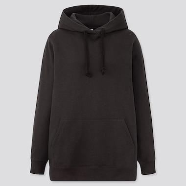 Women Oversized Long-Sleeve Pullover Hoodie Sweatshirt, Black, Medium