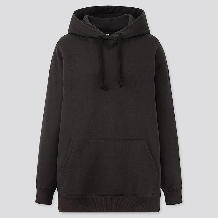 Women Oversized Long-Sleeve Pullover Hoodie Sweatshirt, Black, Large