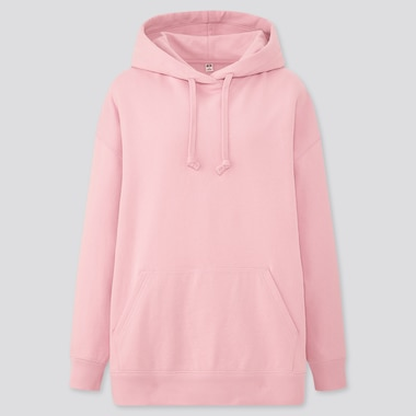 WOMEN SWEAT OVERSIZE LONG-SLEEVE PULLOVER HOODIE, PINK, medium
