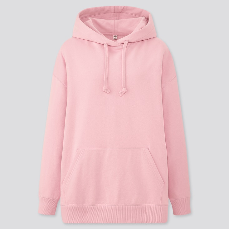 Women Sweat Oversize Long-Sleeve Pullover Hoodie, Pink, Large