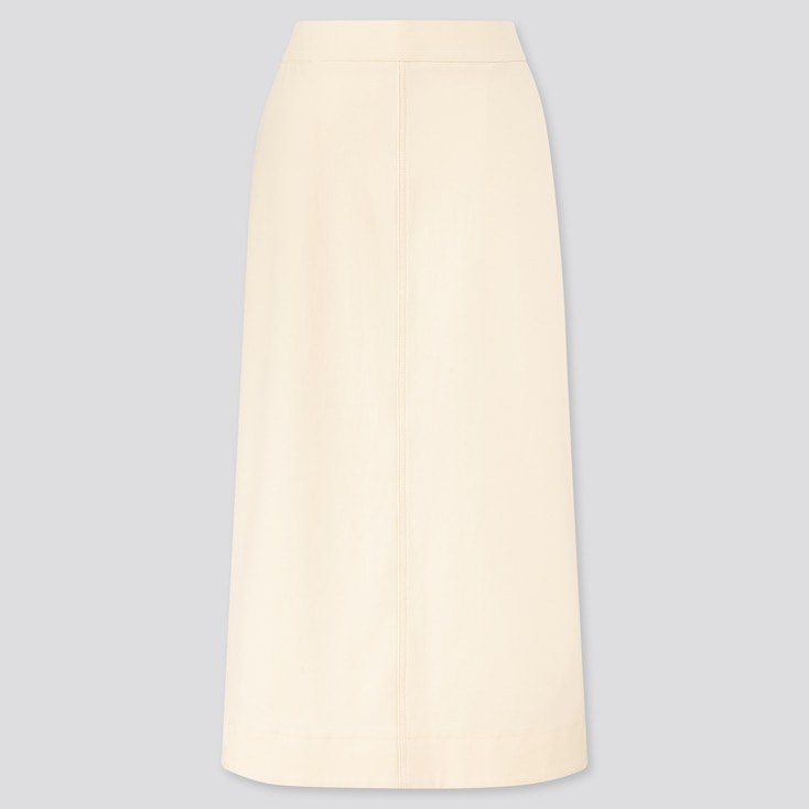 Women Denim Jersey Skirt, Off White, Large