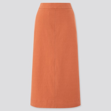 Women Denim Jersey Skirt, Orange, Medium