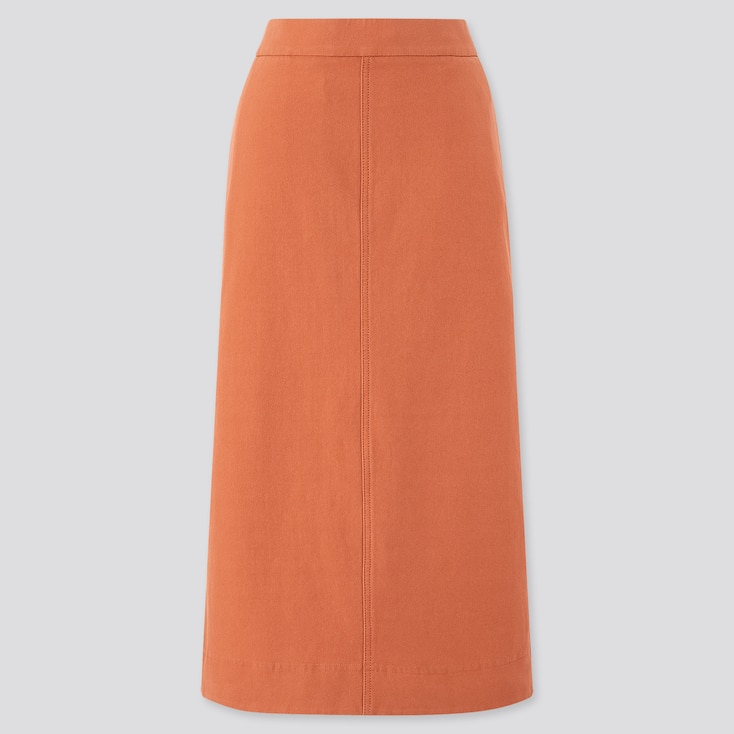Women Denim Jersey Skirt, Orange, Large