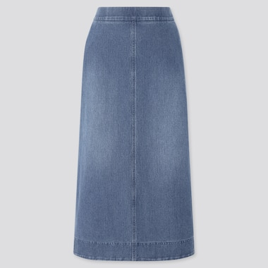 Women Denim Jersey Skirt, Blue, Medium