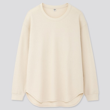 Women Waffle Oversized Crew Neck Long-Sleeve T-Shirt, Off White, Medium