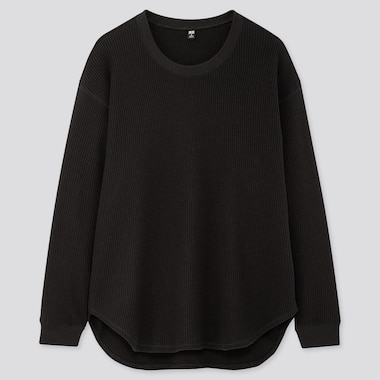Women Waffle Oversized Crew Neck Long-Sleeve T-Shirt, Black, Medium