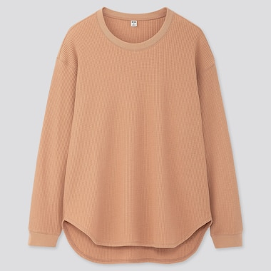 WOMEN WAFFLE OVERSIZED CREW NECK LONG-SLEEVE T-SHIRT, BEIGE, medium