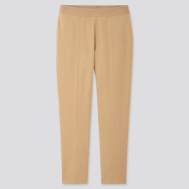 Women Ponte Slim Pants, Beige, Medium