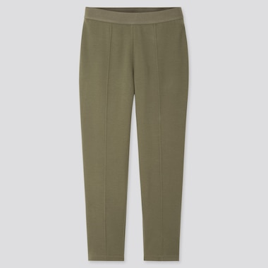 Women Ponte Slim Pants, Olive, Medium