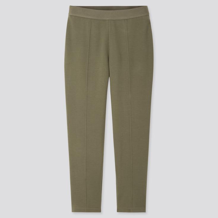 Women Ponte Slim Pants, Olive, Large