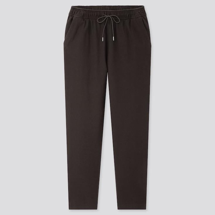 Women Denim Jersey Tapered Pants, Black, Large