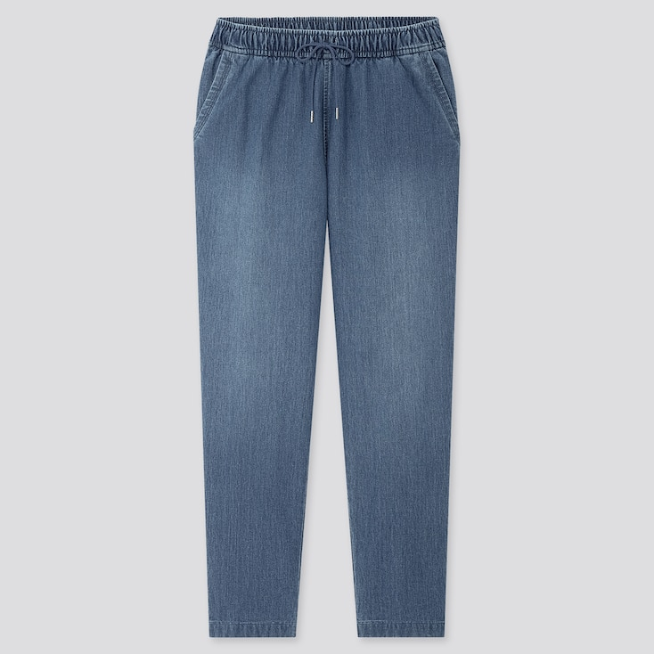 Women Denim Jersey Tapered Pants, Blue, Large