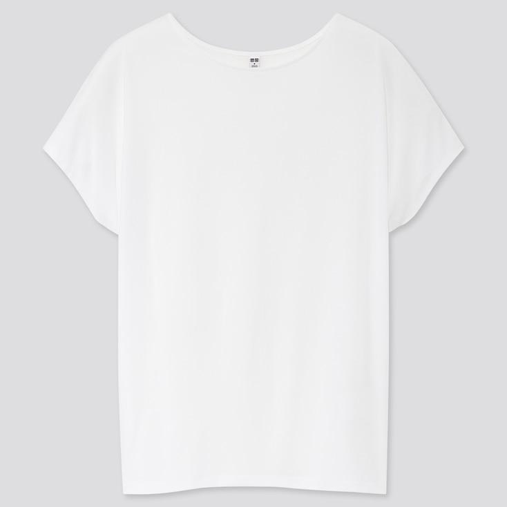 Women Drape Crew Neck Short-Sleeve T-Shirt, White, Large