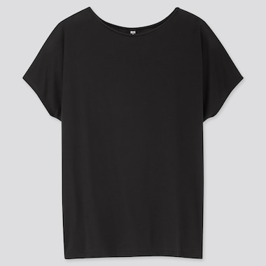 Women Drape Crew Neck Short-Sleeve T-Shirt, Black, Medium