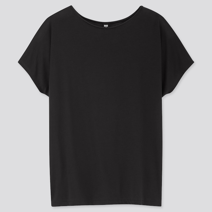 Women Drape Crew Neck Short-Sleeve T-Shirt, Black, Large