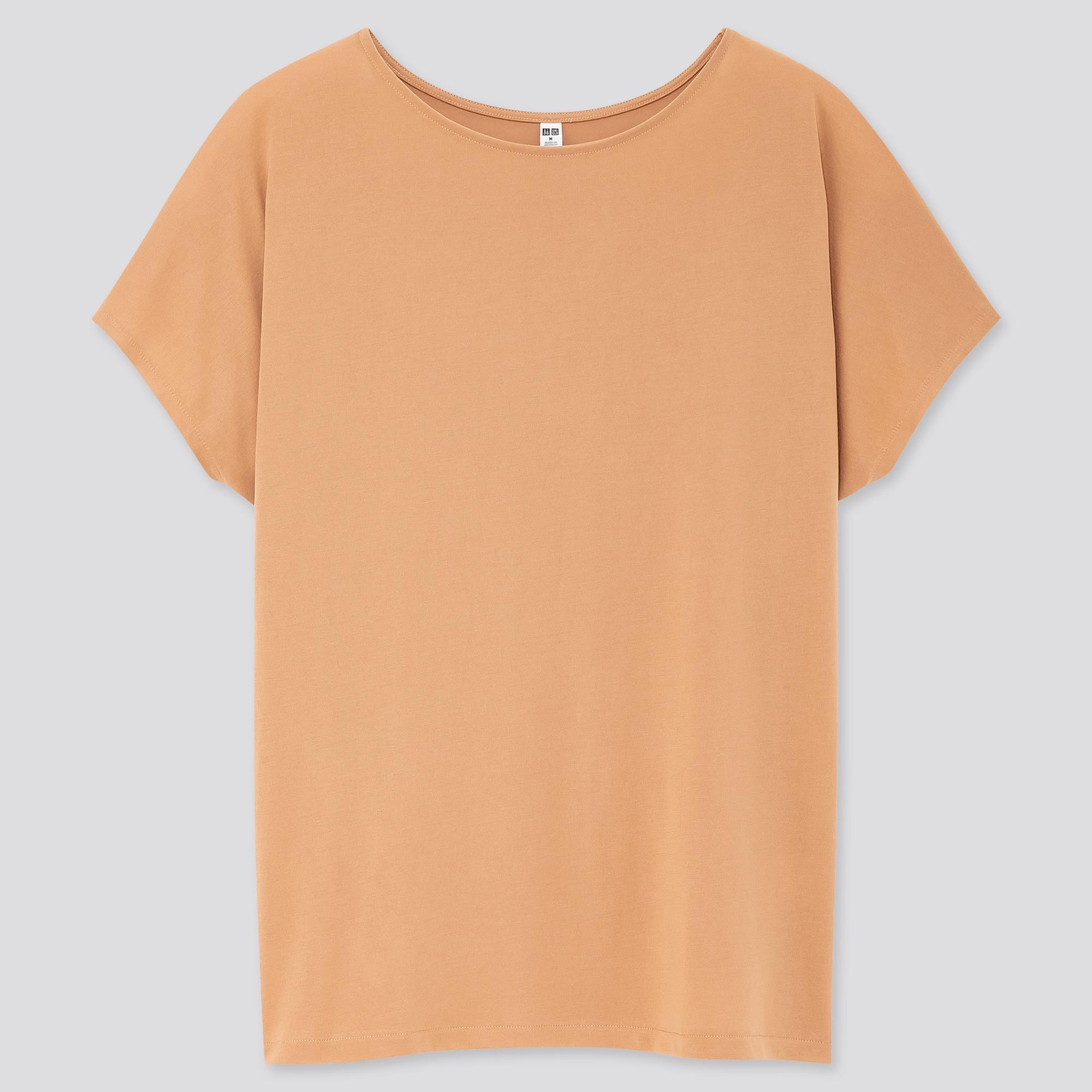 women drape crew neck short-sleeve t-shirt