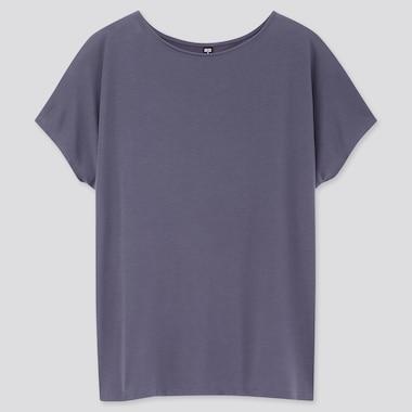 Women Drape Crew Neck Short-Sleeve T-Shirt, Blue, Medium
