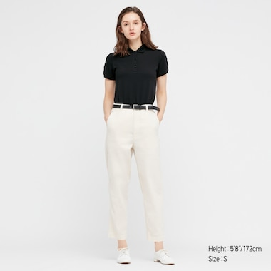Women Stretch Pique Short-Sleeve Polo Shirt, Black, Medium