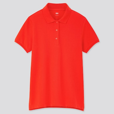 Women Stretch Pique Short-Sleeve Polo Shirt, Red, Medium