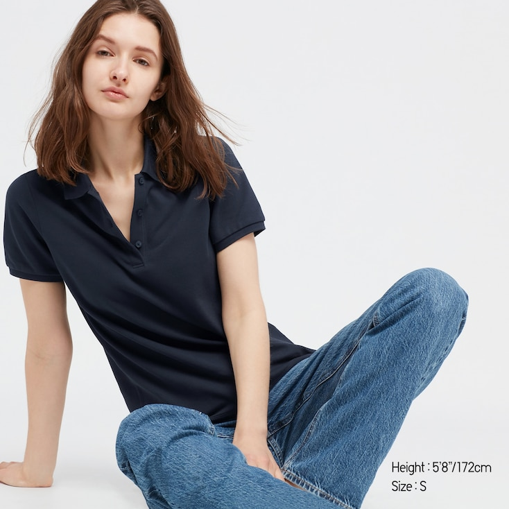 Women Stretch Pique Short-Sleeve Polo Shirt, Navy, Large