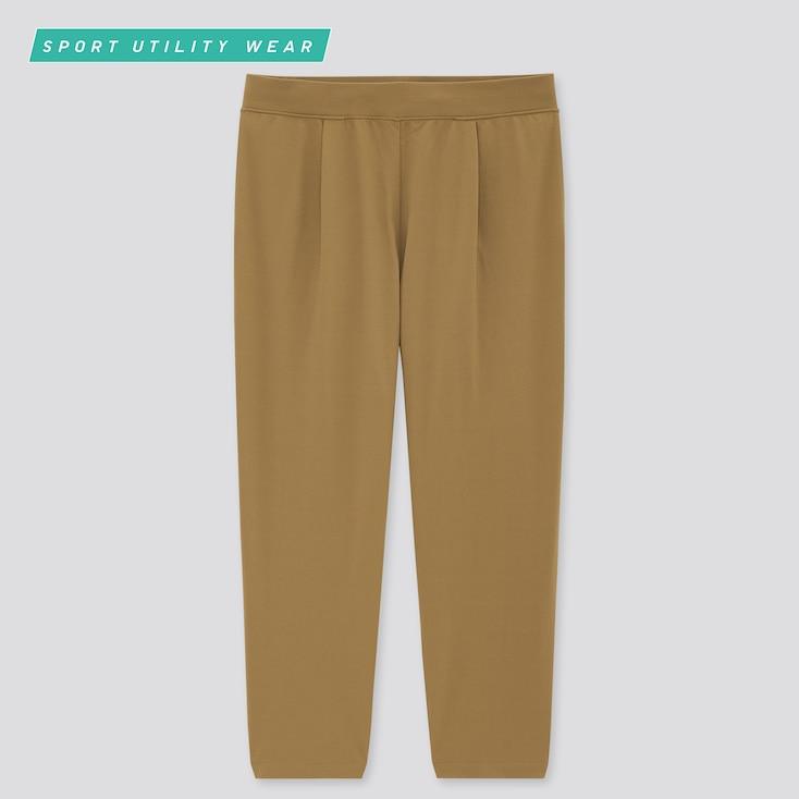 Women Ultra Stretch Active Cropped Pants, Khaki, Large