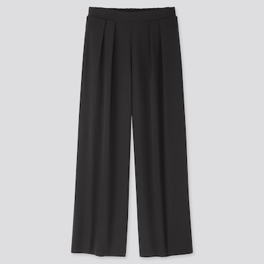 Women Crepe Jersey Wide Pants, Black, Medium