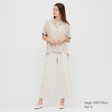 Women Crepe Jersey Wide Pants, Natural, Medium